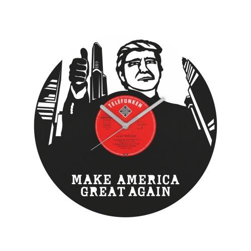 Donald Trump laikrodis iš perdirbtos vinilinės plokštelės