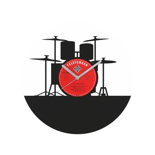 Drum Set laikrodis iš perdirbtos vinilinės plokštelės