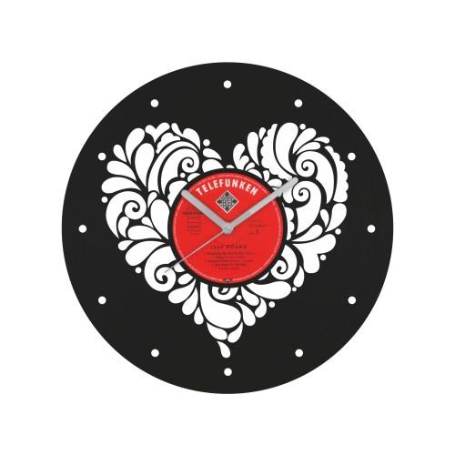Heart laikrodis iš perdirbtos vinilinės plokštelės