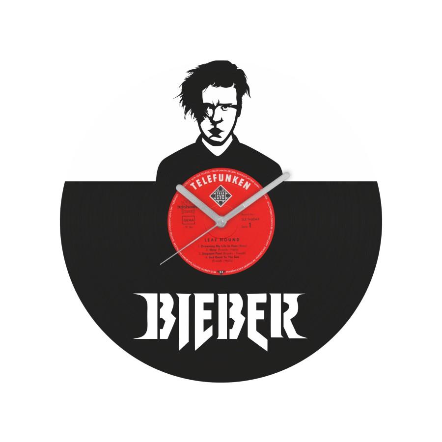 Justin Bieber v1 laikrodis iš perdirbtos vinilinės plokštelės
