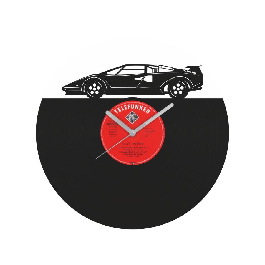 Lamborghini Countach laikrodis iš perdirbtos vinilinės plokštelės