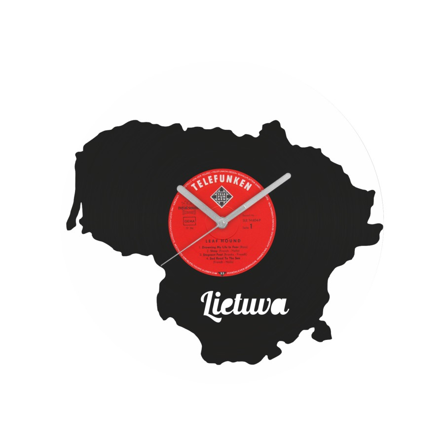 Lietuvos laikrodis iš perdirbtos vinilinės plokštelės