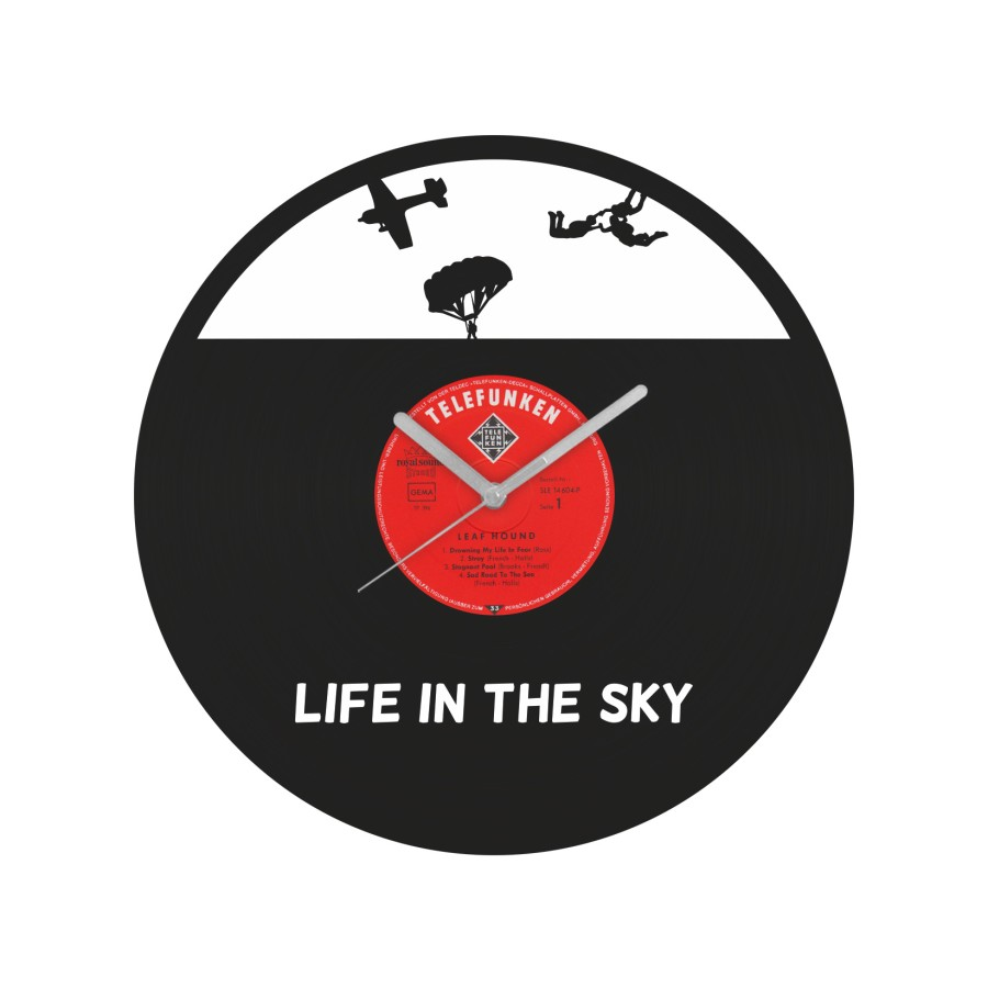 Life in the sky laikrodis iš perdirbtos vinilinės plokštelės
