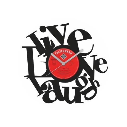 Live Love Laugh laikrodis iš perdirbtos vinilinės plokštelės