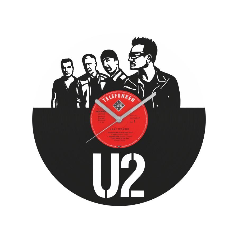 U2 laikrodis iš perdirbtos vinilinės plokštelės