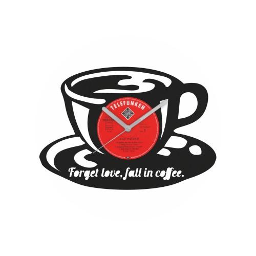 Coffee laikrodis iš perdirbtos vinilinės plokštelės