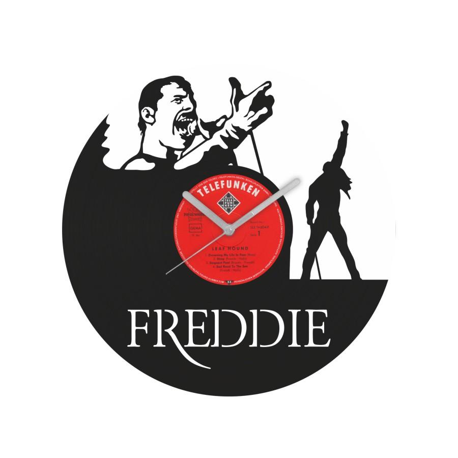 Freddie Mercury laikrodis iš perdirbtos vinilinės plokštelės
