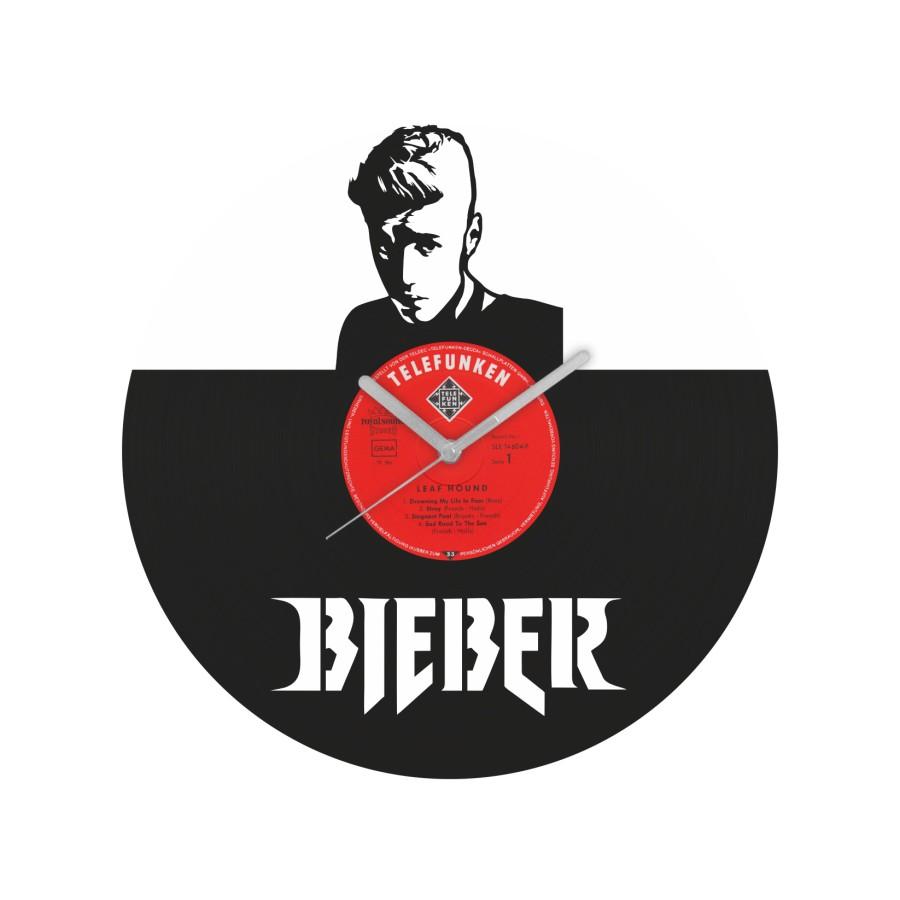 Justin Bieber v2 laikrodis iš perdirbtos vinilinės plokštelės