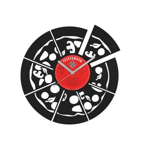 Pizza laikrodis iš perdirbtos vinilinės plokštelės