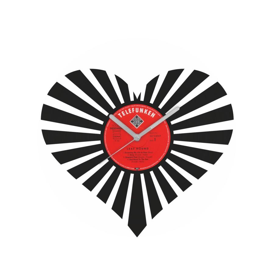 Valentino dienos laikrodis iš perdirbtos vinilinės plokštelės